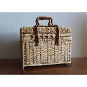 Woven Wicker Picnic Basket or Organizer